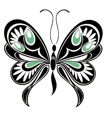 Черно зеленая бабочка тату
