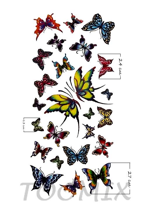 Тату цветные бабочки
