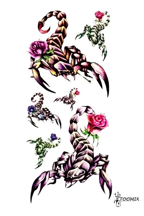 Скорпион с цветком тату