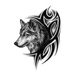 Переводной волк в стиле трайбл