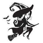 Переводная тату «Ведьма на метле»