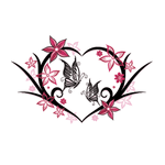 Переводная тату «Сердце с бабочками»