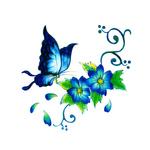 Переводная бабочка на цветке