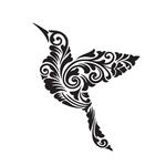 Цветочный орнамент в виде птицы