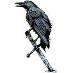 """Переводная татуировка """"Ворон с мечом"""""""