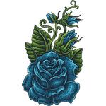 """Переводная татуировка """"Синяя роза"""""""