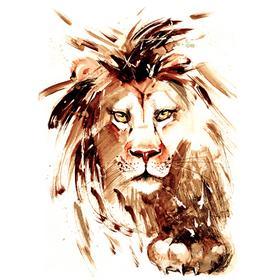 """Переводная татуировка """"Акварельный лев"""""""