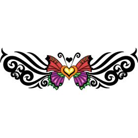 """Переводная татуировка """"Бабочка с узором трайбл"""""""