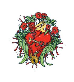 Переводная тату «Сердце в стиле олд-скул»