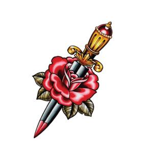 Переводная тату «Роза с кинжалом»