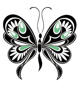 Переводная тату «Черно-зеленая бабочка»