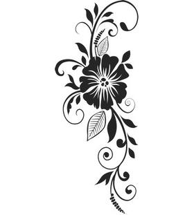 """Переводная татуировка """"Узор с черным цветком"""""""