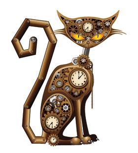 Переводная кошка в стиле стимпанк