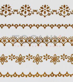 Золотая наклейка на ногти «Цветочки»