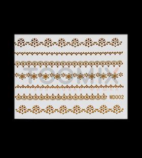 ЗЗолотая наклейка на ногти «Цветочки»