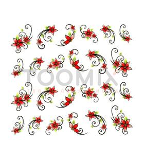Водная наклейка на ногти «Цветы с завитками»