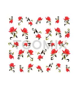 Наклейка на ногти «Красный цветок» (на водной основе)