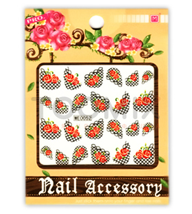 Водная наклейка на ногти «Сетка с розами»