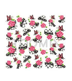 Водные наклейки на ногти «Розы розовые»