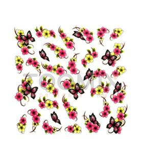 Водная наклейка для ногтей «Бабочки и цветы»