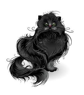 """Переводная татуировка """"Черный кот"""""""