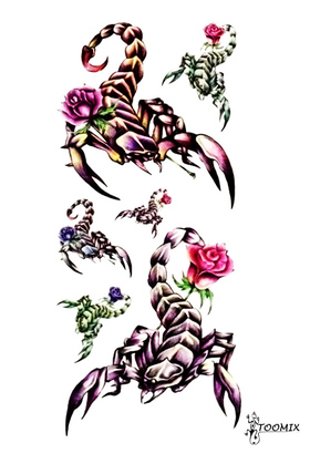 Тату наклейка «Скорпион с розой»