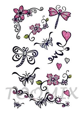 Тату временное «Бабочки и цветы»