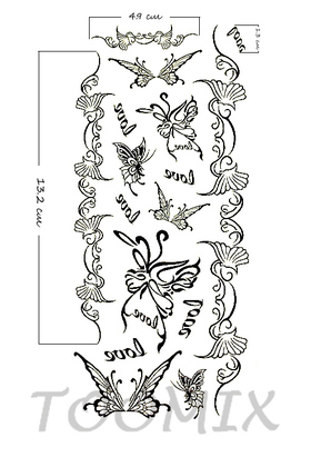 Тату наклейка «Бабочки love»