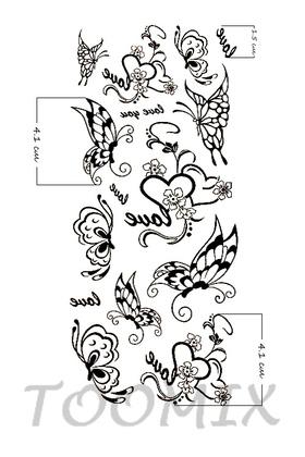Татуировка временная «Сердце Love you, бабочки»