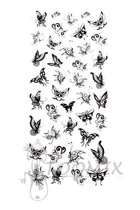 Тату переводная «Черные маленькие бабочки»