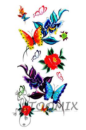 Тату переводная «Цветная бабочка на цветке»