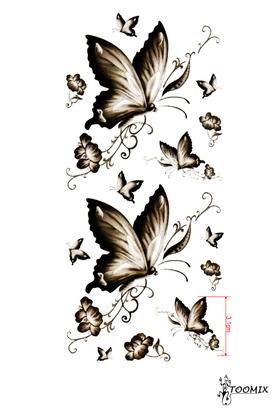 Тату переводная «Бабочки черно-белые»