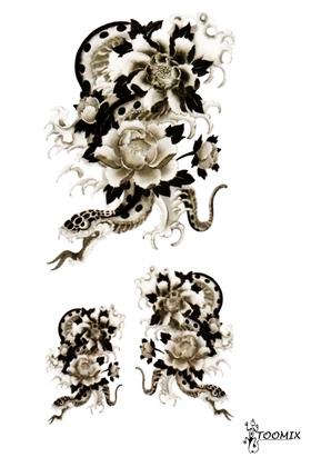 """Татуировка переводная """"Змея и роза"""""""