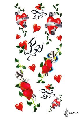 Тату наклейка «Сердце с надписью love»