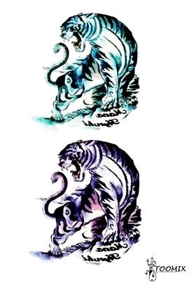 Татуировка наклейка «Два тигра»