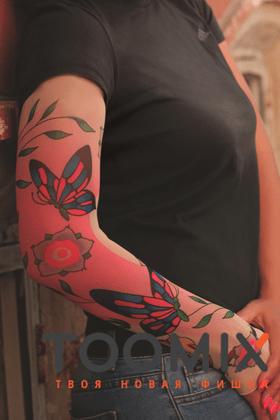 Женский тату рукав «Бабочки»