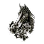 Переводная лошадь с розами