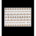 Золотая наклейка на ногти «Бантики, короны»