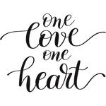 """Переводная татуировка """"One love, one heart"""""""