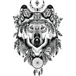 """Переводная татуировка """"Индейский волк тату"""""""