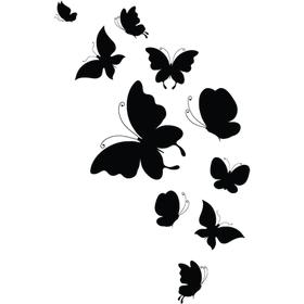 """Переводная татуировка """"Черные бабочки"""""""