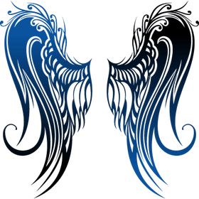 """Переводная татуировка """"Крылья с синим градиентом"""""""