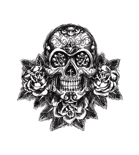 Переводной череп в стиле олд скул