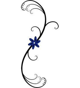 """Переводная татуировка """"Узор с синим цветком"""""""