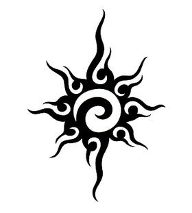 Переводная наклейка «Солнце трайбл»