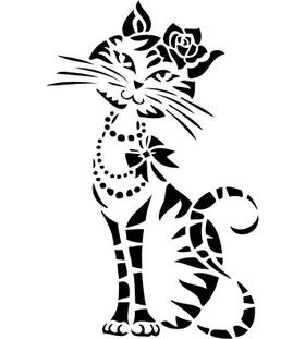 """Переводная татуировка """"Кошечка с розой"""""""