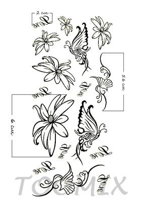 Временная тату «Контур цветка, бабочки»