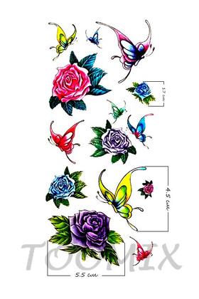 Временная татуировка для девушек «Разноцветные розы, бабочки»