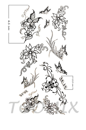 Татуировка временная женская «Цветы контур»