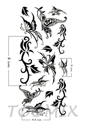 Переводная тату «Роза черная, бабочки»